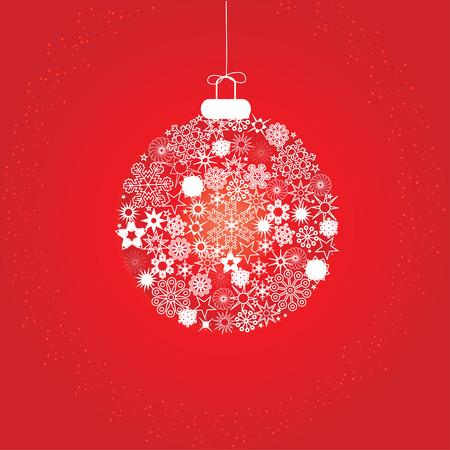 Natale decorazione fiocchi di neve rosso bianco  Vettoriali