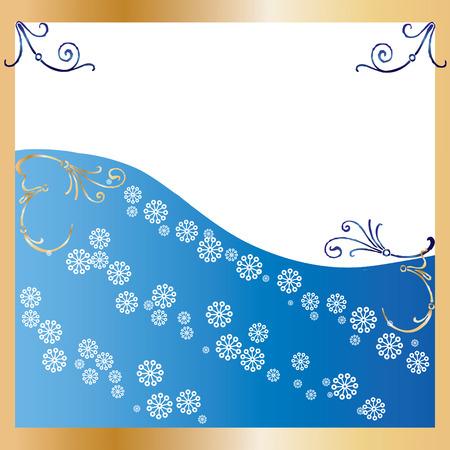 xm: Golden Frame blue Background, Background for congratulatory card, vector illustration Illustration