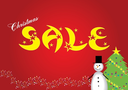 Christmas sale, poster for your commercial announcement about holidays sale, vector illustration,  see more at my portfolio  Vector