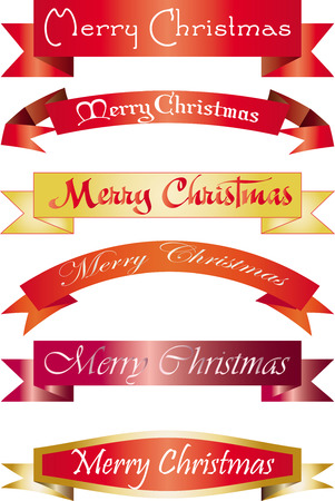 sumbol: set of headlines with Merry Christmas wish, vector illustration