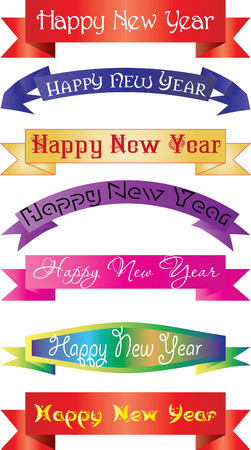 new year's eve: headline new year, set of headlines with `Happy New Year` wish, vector illustration
