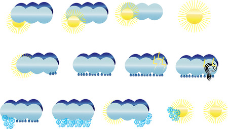 metrology: Set of weather icons, vector illustration