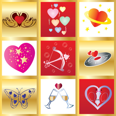 Valentine greetings card, You can use it as 1 and as 9 little cards Stock Vector - 5998994