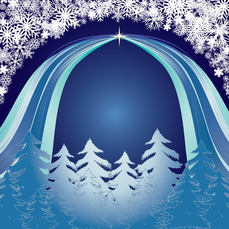 xm: Blue Forest, Merry Christmas and Happy New Year! background for your greetings card