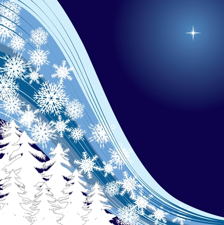 xm: Blue snow, Merry Christmas and Happy New Year! background for your greetings card Illustration
