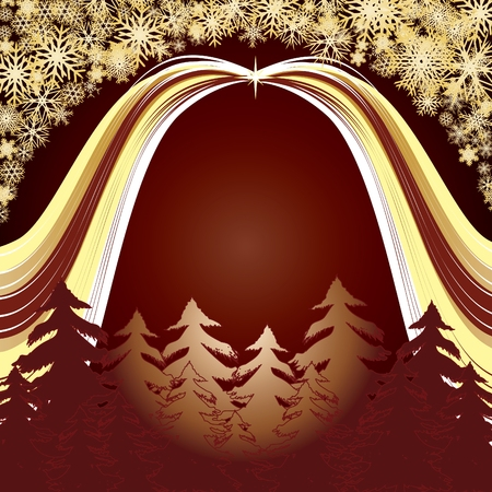 xm: Golden forest, Merry Christmas and Happy New Year! background for your greetings card Illustration