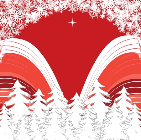 xm: red forest, Merry Christmas and Happy New Year! background for your greetings card