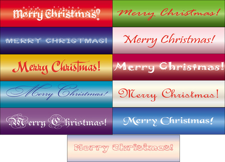 xm: set of inscriptions Merry Christmas in different fonts, vector available Illustration