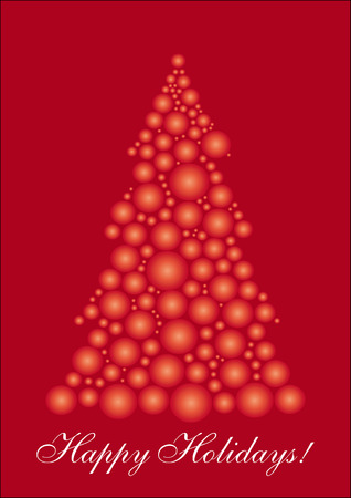 xm: Red Christmas tree, background for your greetings card, vector illustration,  see more at my portfolio, you can type your text
