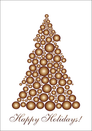 xm: Golden circle Christmas tree, background for your greetings card, vector illustration, see more at my portfolio
