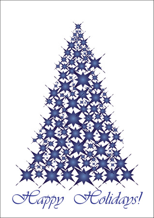 xm: Christmas tree- blue stars, Happy Holidays! vector illustration, Unusual Christmas tree for your Greeting card