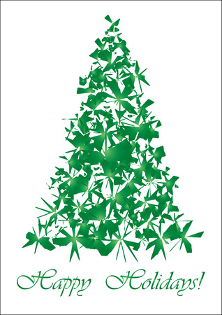 xm: Green torn Christmas tree, Unusual Christmas tree for your Greeting card, vector illustration