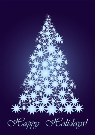 Blue starry Christmas tree, background for your greetings card, vector illustration, see more at my portfolio, you can type your text Vector