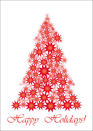 christmastree: Red Starry Christmas tree, All your friends worldwide will understand wish of Happy Holidays, vector illustration