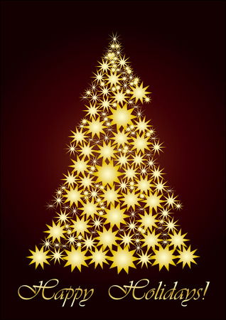 xm: Starry Christmas tree  gold, vector illustration, Unusual Christmas tree for your Greeting card