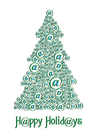 xm: Christm@s tree green, Send unusual Christmas tree to your friends, vector illustration Illustration