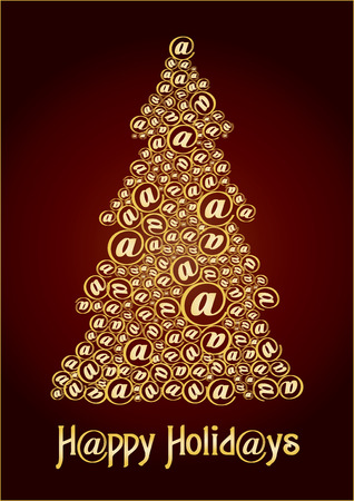 xm: Christm@s tree gold, Send unusual Christmas tree to your friends, vector illustration