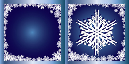 xm: Blue Greetings card Snowflake, Merry Christmas and Happy New Year! vector illustration Illustration