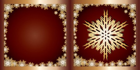 xm: Gold Greetings card Snowflake, Merry Christmas and Happy New Year! vector illustration Illustration