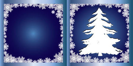 Blue Greetings card Firtree, Merry Christmas and Happy New Year! vector illustration Vector