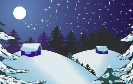 Christmas landscape, Merry Christmas and Happy New Year! vector illustration,  see more at my portfolio Vector