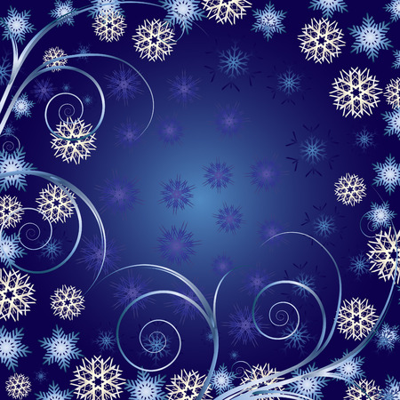 Beautiful Blue Christmas background for your greetings card, vector Vector