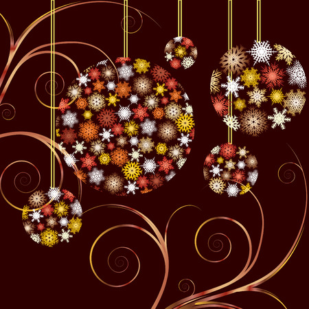 xm: Christmas Baubles golden  card, background for your greetings card, vector illustration,   see more at my portfolio, you can type your text Illustration
