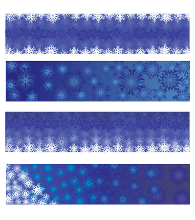 Christmas banners, set of blue christmas banners, vector available