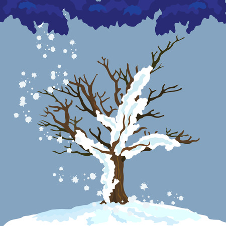 vulnerable: Lonely tree in winter shows how vulnerable we are, additionally vector EPS 8.0 Illustration