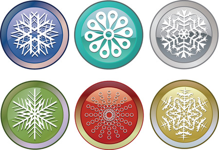 snowflakes icons, they will show time of the Christmas holidays, additional vector Vector