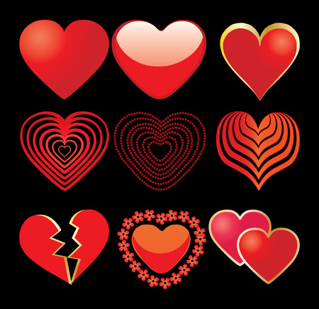 set of 9 hearts on black backdrop, vector additional Vector