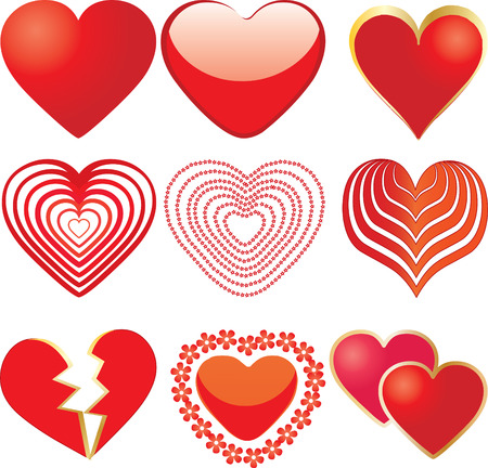 set of 9 hearts, vector additional Vector