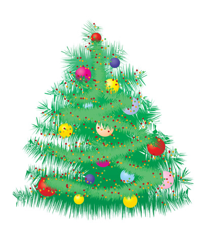 xm: Furry Christmas tree, Decorated Christmas tree with baubles, vector illustration
