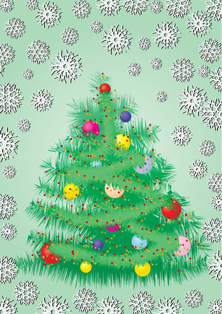 Furry Christmas tree card, greetings card, vector illustration, see more at my portfolio, you can type your text Stock Vector - 6067695