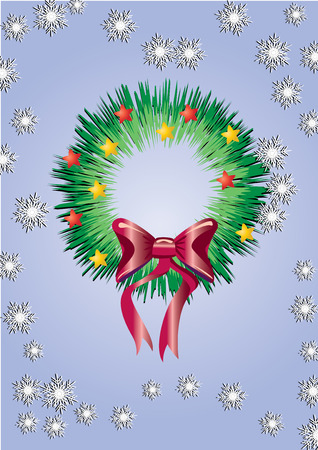pine boughs: Christmas wreath, background for your greetings card, vector illustration,  see more at my portfolio, you can type your text Illustration