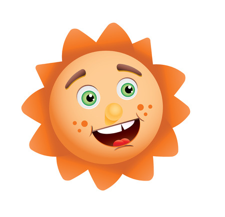 Funny sun face, vector illustration Stock Vector - 6067700