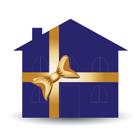 illustration for advertising: Gift house for advertising usage, vector illustration