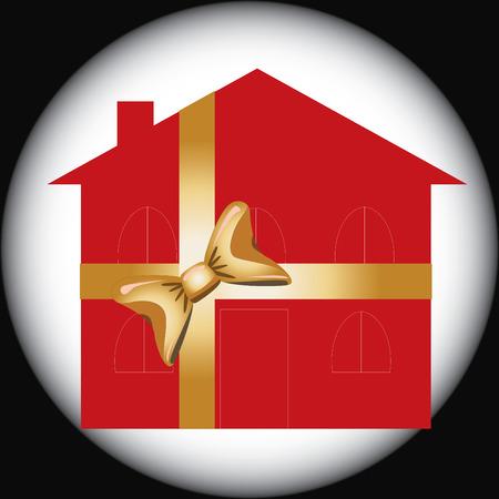 realización: Casa de regalo para el uso de la publicidad, ilustraci�n vectorial
