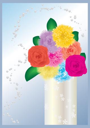 Flores en florero, vector