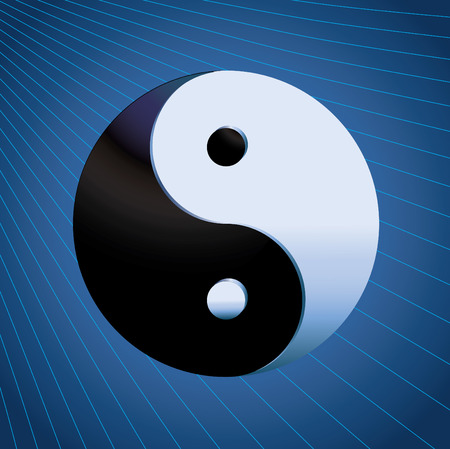Ying Yang Symbol on blue background, vector Vector