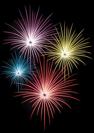 Colorful Fireworks on black background, vector illustration