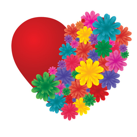 paramour: Valentine heart, decorated with flowers, vector