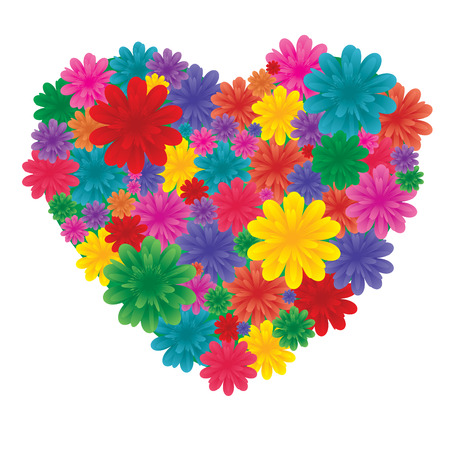 lovingly: Flowers on heart, Love heart made from flowers, vector illustration, see more at my portfolio