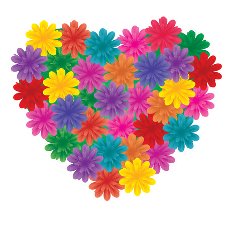 paramour: Big Flowers on heart, Love heart made from flowers, vector illustration, see more at my portfolio Illustration