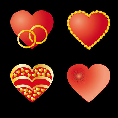lovingly: Set of 4 red hearts, vector, can be used as 4 different valentines Illustration