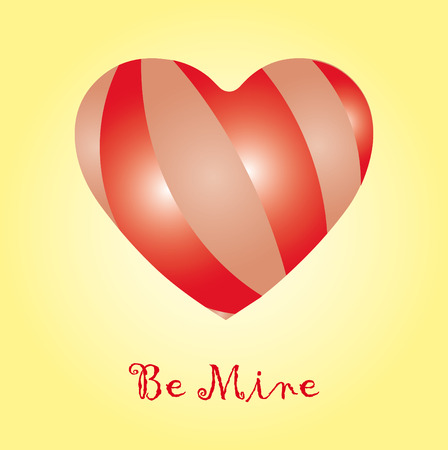 Be mine card, valentine card, with heart and wish of  Vector