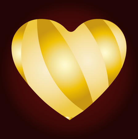 paramour: golden strip on heart, Valentine card, you can type your text, vector