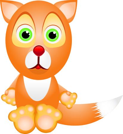 Little cartoon fox looking at you, vector Vektoros illusztráció