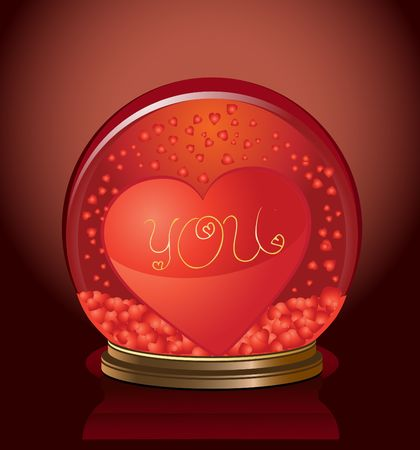 diviner: Valentine dome with heart in it, vector illustration