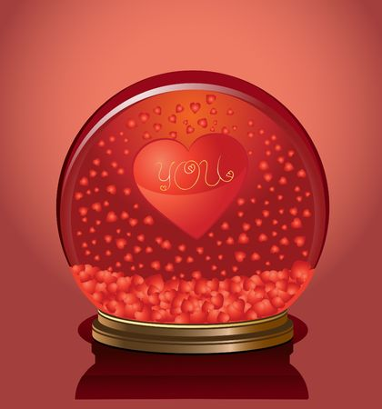 Valentine dome with hearts in it, vector illustration illustration
